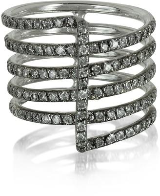 Bernard Delettrez Four Bands 9K White Gold Ring w/Grey Diamonds Pave