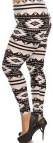 Expert Design Women's Plus American Indian Aztec Pattern Print Leggings