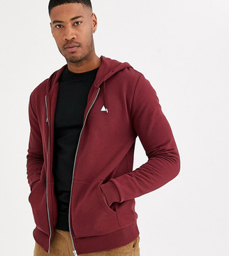 Asos Design DESIGN Tall zip up hoodie in burgundy with triangle-Red
