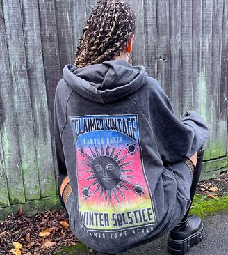 Reclaimed Vintage inspired hoodie with band luna print