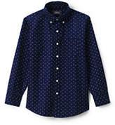 Lands' End Toddler Boys Printed Washed Oxford Shirt-Deep Sea Stars