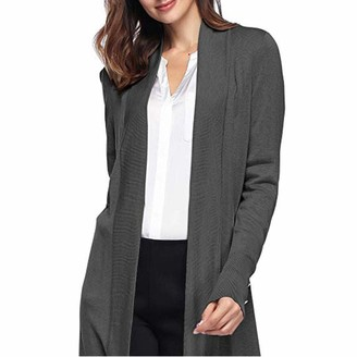 Celucke Womens Open Front Knit Cardigans for Women Lightweight Cover-up Long Sleeve Cardigan Sweaters Gray