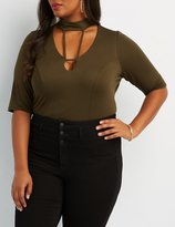 Charlotte Russe Plus Size Strappy Mock Neck Bodysuit