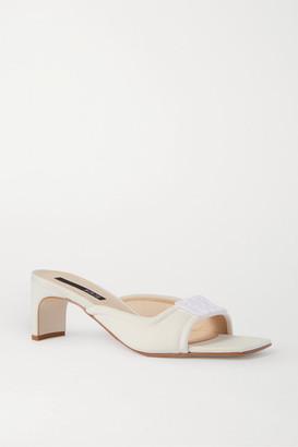 BEVZA Embellished Neoprene Mules - Ivory