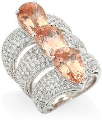 Hueb Apus Diamond, Morganite & 18K White Gold Ring