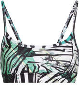 Bodyism I Am Exotic Printed Stretch Sports Bra - Green