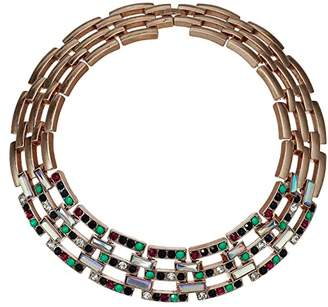 Steve Madden Jeweled Square Link Design Choker Necklace (Multicolor/Yellow Gold-Tone) Necklace