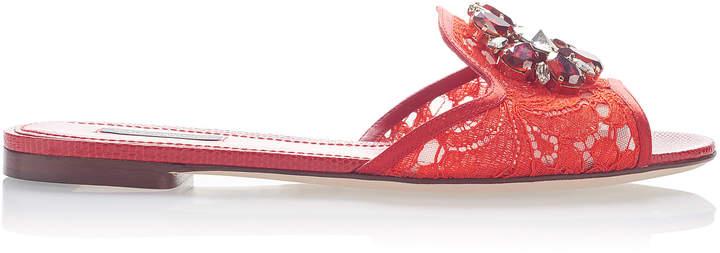 Dolce & Gabbana Embellished Leather-Trimmed Lace Slides