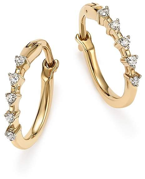 Adina 14K Yellow Gold 5-Diamond Huggie Hoop Earrings