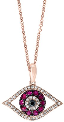 Effy 14K Rose Gold Pink Ruby, Black White Diamond Evil Eye Pendant Necklace