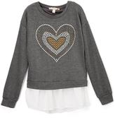 Speechless Heather Gray Heart Embellished Sweatshirt - Girls