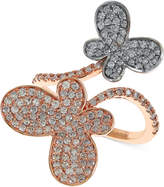 Effy Diamond Butterfly Ring (1-1/8 ct. t.w.) in 14k Rose Gold and 14k White Gold