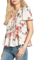 Mimichica Women's Mimi Chica Print Lace-Up Top
