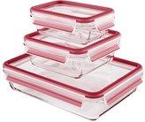 Emsa 514168 Clip & Close set of 3 glass storage boxes with plastic lids, volume: 0.5; 0.9; 2 litre, transparent/blue