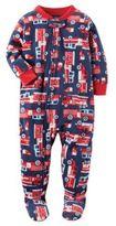Carter's Fleece Firetruck Footed Pajamas in Navy