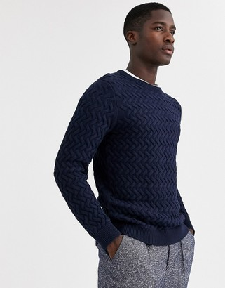 Selected chunky cable knitted sweater in navy