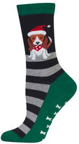 Hot Sox Dog in Santa Hat Socks