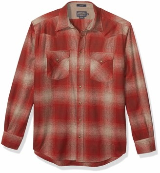 Pendleton Men's Size Long Sleeve Snap Front Classic Fit Canyon Wool Shirt