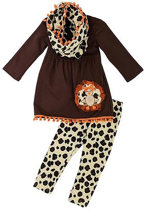 Royal Gem Girls' Leggings Brown - Brown & Beige Turkey Top & Leggings Set - Infant, Toddler & Girls