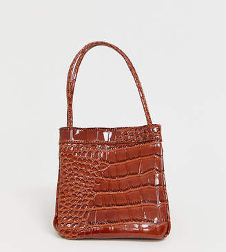 Liars & Lovers Exclusive brown patent moc croc mini bag