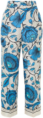 Gucci Cropped Printed Silk-twill Wide-leg Pants