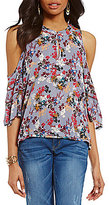 Democracy Floral Cold-Shoulder Keyhole Top
