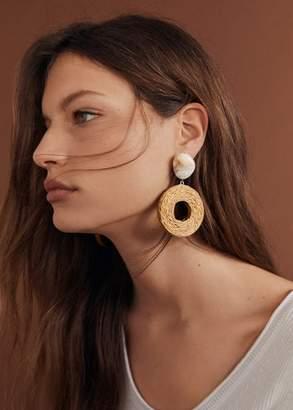 MANGO Wood hoop earrings