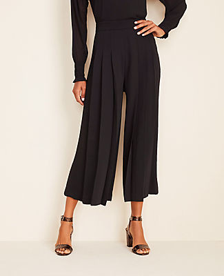 Ann Taylor The Petite Pleated Wide Leg Crop Pant