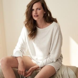 The White Company Double-Faced Stripe Sweatshirt, White Grey, Large