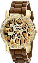 XOXO Women's XO8057 Rhinestones Accent Brown Silicone Strap Watch