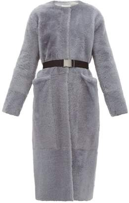 Inès & Marèchal Flateur Belted Merino Shearling Coat - Womens - Light Grey