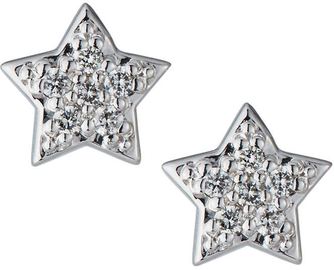 d47f39c6c59f9 14k White Gold Diamond Star Earrings
