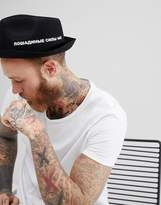 Asos Pork Pie Hat With Pinched Crown In Black With Printed Design