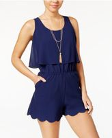 Amy Byer Juniors' Popover Scallop Romper with Necklaces