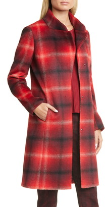 HUGO Metura Brushed Plaid Coat
