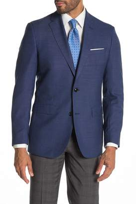 Ted Baker Jarrow Blue Solid Two Button Notch Lapel Wool Slim Fit Suit