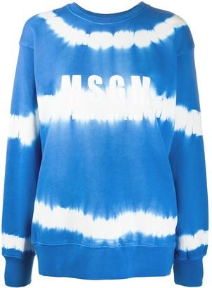 MSGM Logo-Print Tie-Dye Sweatshirt