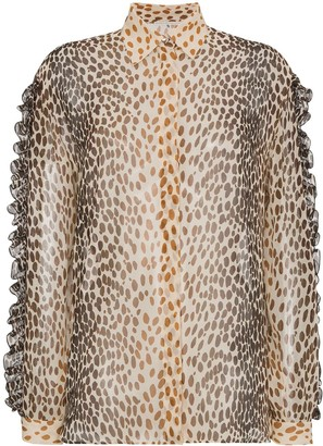 Marco De Vincenzo Silk animal print blouse with ruffles