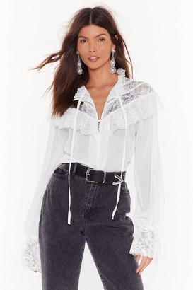 Nasty Gal Womens Lace Face the Facts Tie Blouse - White - 14
