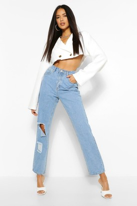boohoo The Ripped Knee Straight Leg Jean