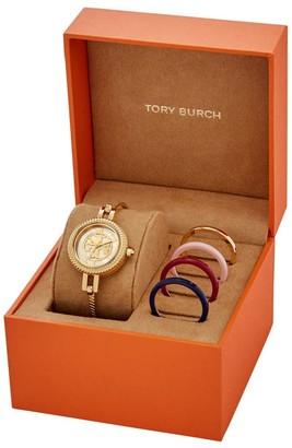 Tory Burch Reva Goldtone Stainless Steel Bangle Watch Gift Set