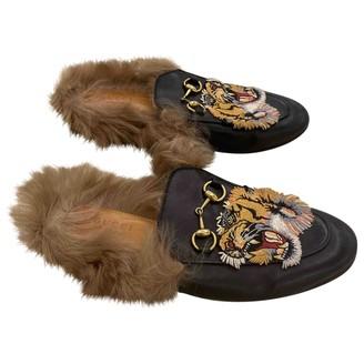 Gucci Princetown Black Faux fur Flats