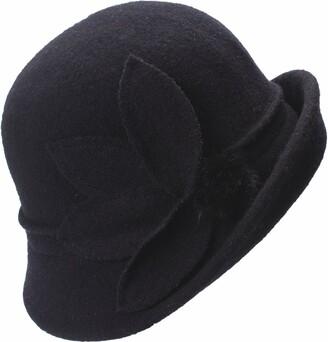 Lawliet Womens Vintage Style Floral Asymmetrical Upturn Brim Cloche Wool Soft Bucket Winter Church Wedding Hat (Black)