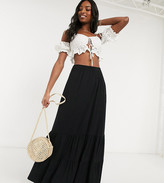 Asos Tall DESIGN Tall tiered maxi skirt in black