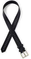 Classic Women's Plus Size Leather Single Perforated Belt-Black