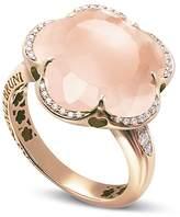 Pasquale Bruni 18K Rose Gold Bon Ton Floral Rose Quartz & Diamond Ring