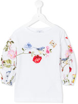 MonnaLisa floral blue tit print top - kids - Cotton/Elastodiene - 7 yrs