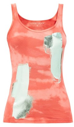 Germanier - Metallic Brush-stroke Cotton-jersey Tank Top - Red Multi