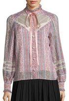Marc Jacobs Lace-Inset Cotton & Silk Peasant Top