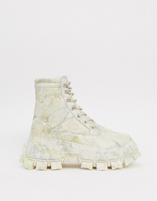ASOS DESIGN lace-up boots in camo faux leather with chunky sole